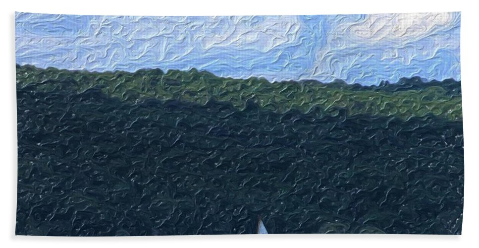 Landscape Beach Towel featuring the photograph On Cayuga Lake by David Lane