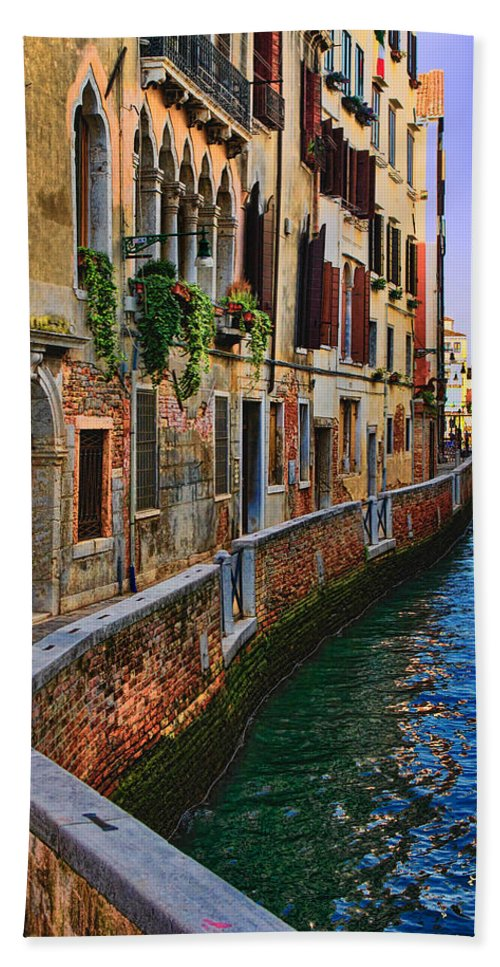 Water Reflection Photo Beach Towel featuring the photograph On The Canal-venice by Tom Prendergast