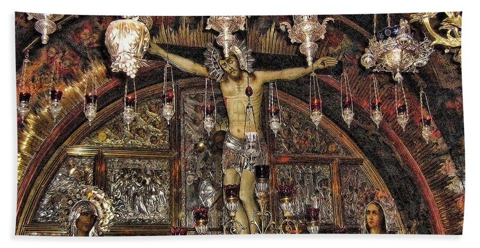 Jesus Beach Towel featuring the photograph On The Cross by Douglas Barnard