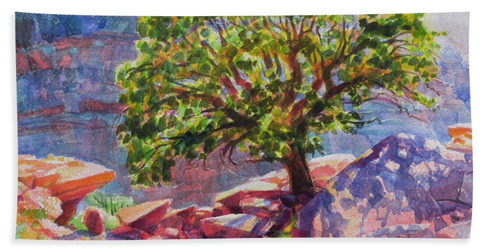 Southwest Beach Towel featuring the painting Living On The Edge by Steve Henderson