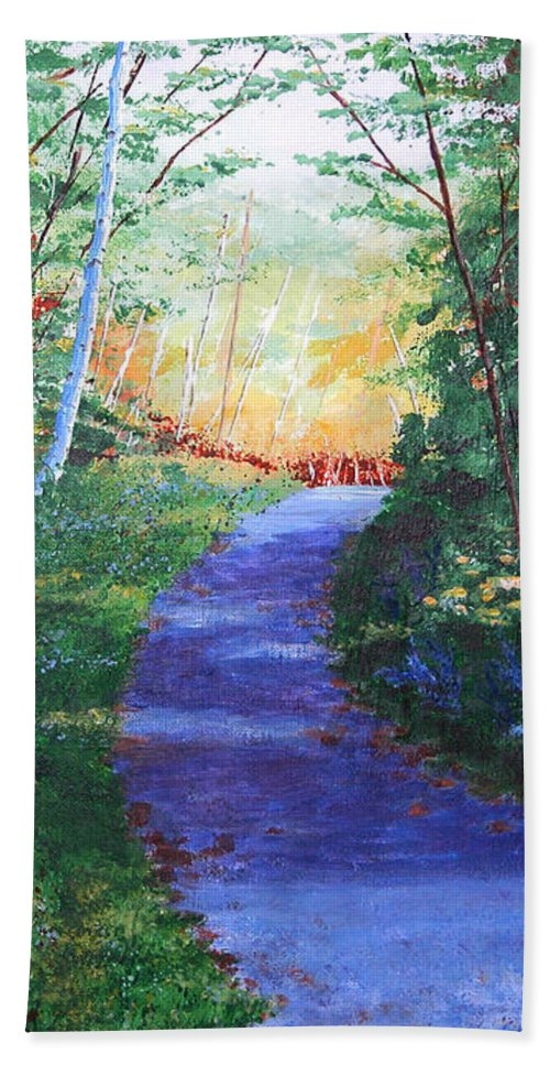 Pathway Beach Sheet featuring the painting On The Path by Lynn Quinn