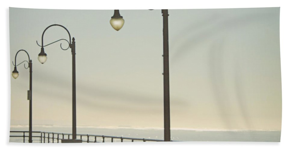 Ocean Beach Towel featuring the photograph On The Pier by Linda Woods