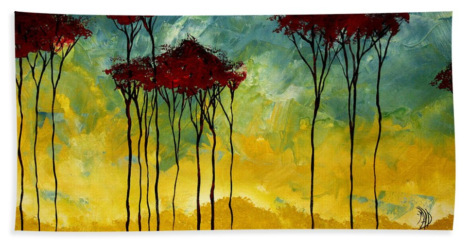 Art Beach Towel featuring the painting On The Pond By Madart by Megan Duncanson