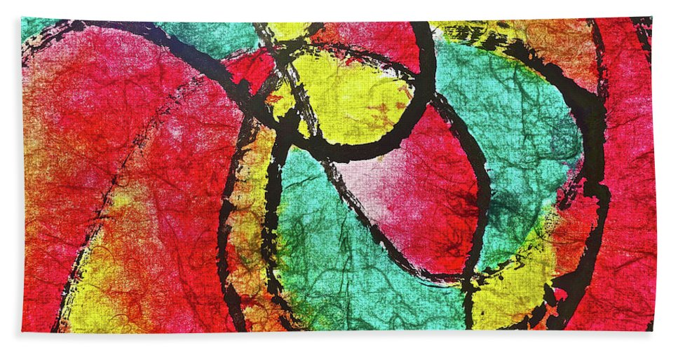 Red Beach Towel featuring the painting On The Road Again by Joan Reese