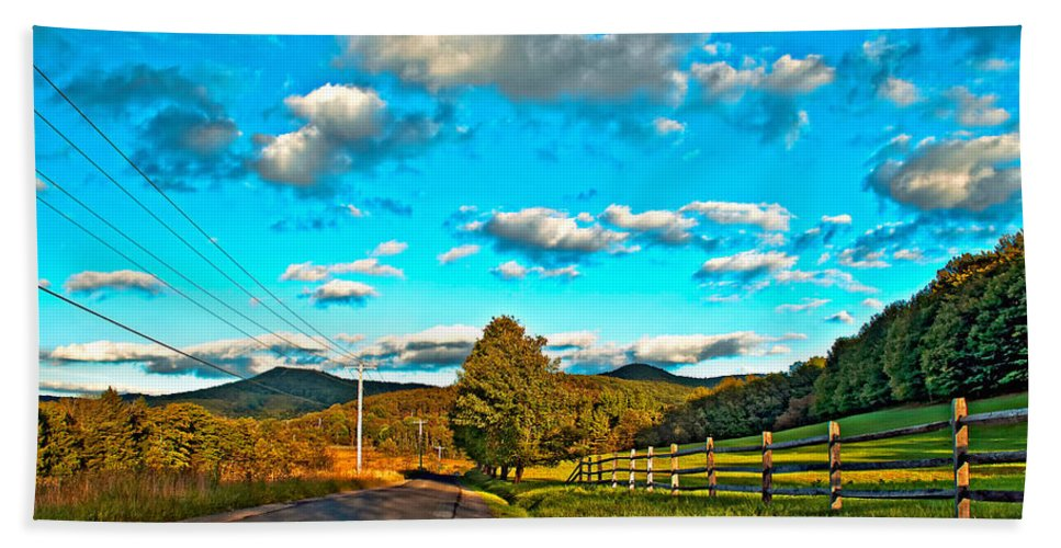 Landscape Beach Towel featuring the photograph On The Road In Wv by Steve Harrington