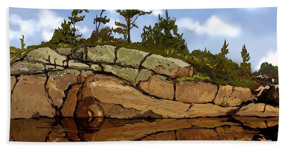 Shoreline Beach Towel featuring the digital art On The Rocks by David Loblaw