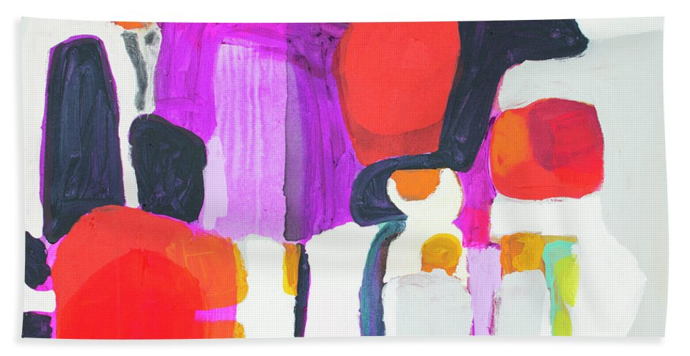 Abstract Beach Towel featuring the painting On Time by Claire Desjardins