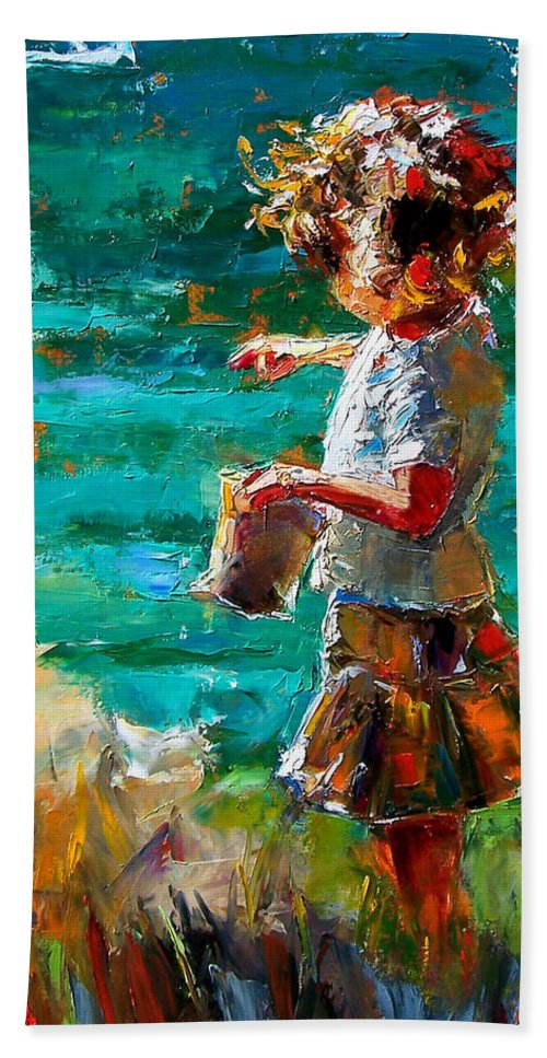 Children Beach Sheet featuring the painting One At A Time by Debra Hurd