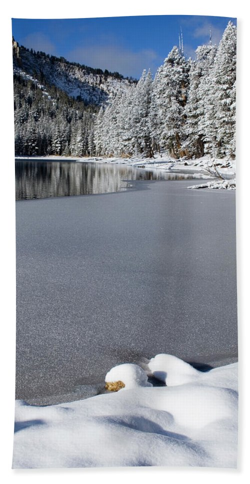 Snow Scene Beach Towel featuring the photograph One Cool Morning by Chris Brannen
