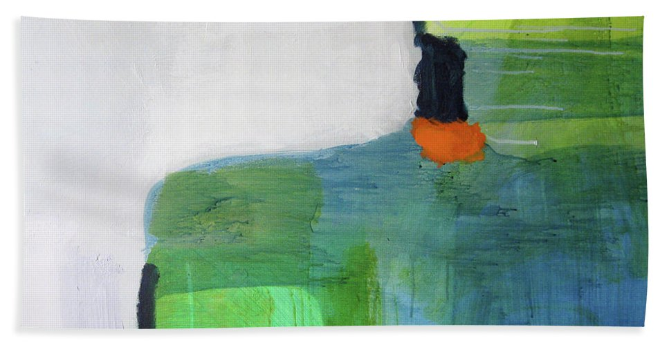 Abstract Beach Towel featuring the painting One Day I Was Dreaming by Claire Desjardins
