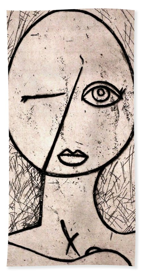 Clay Beach Towel featuring the relief One Eye by Thomas Valentine