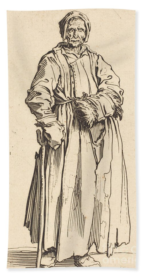 Beach Towel featuring the drawing One-eyed Woman by Jacques Callot