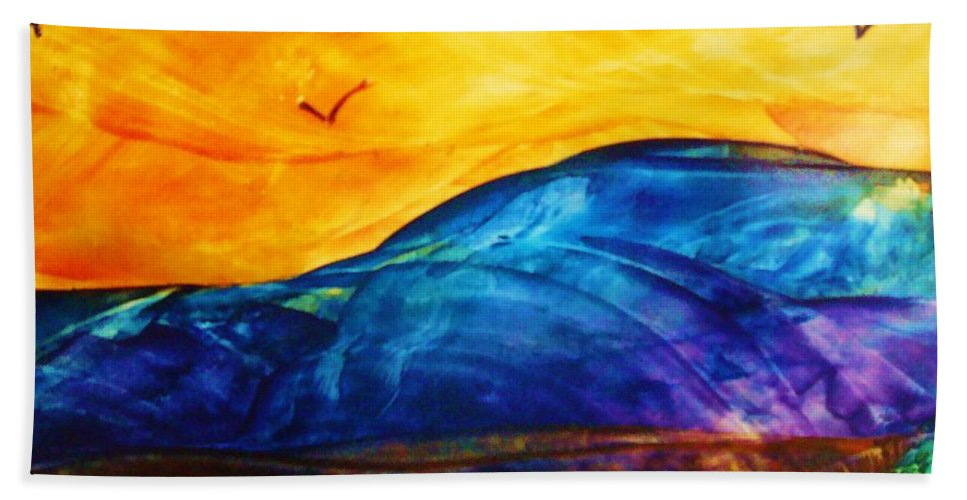 Landscape Beach Sheet featuring the painting One Fine Day by Melinda Etzold