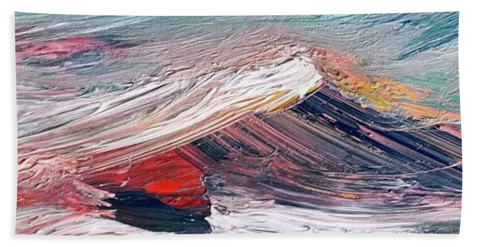 Mountain Beach Towel featuring the painting Wave Mountain by Christian Ruckerbauer