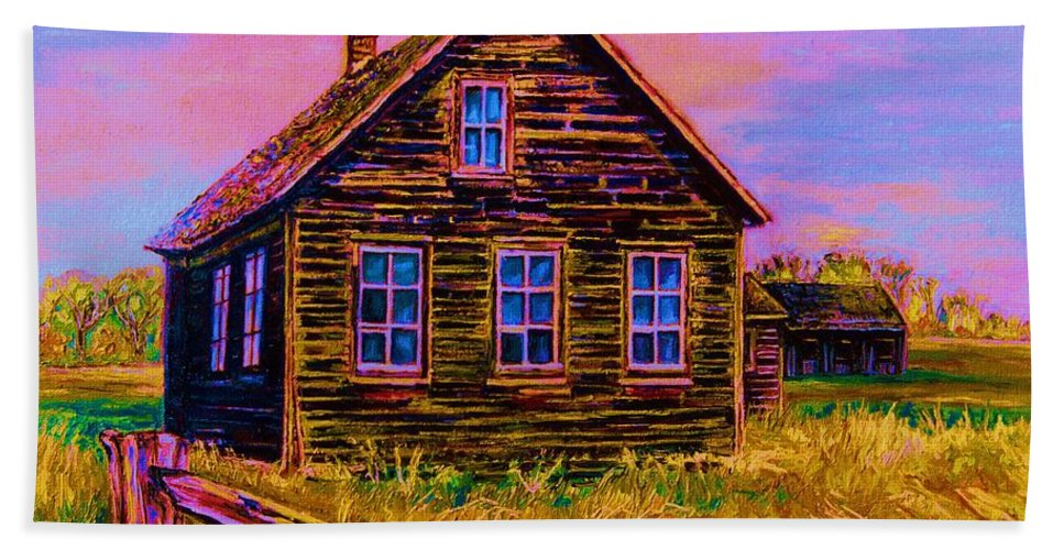 Western Art Beach Towel featuring the painting One Room Schoolhouse by Carole Spandau