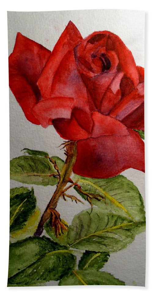 Roses Beach Towel featuring the painting One Single Red Rose by Carol Grimes