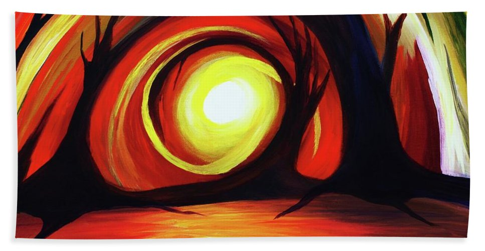 Abstract Beach Towel featuring the painting One With Nature by Angel Reyes