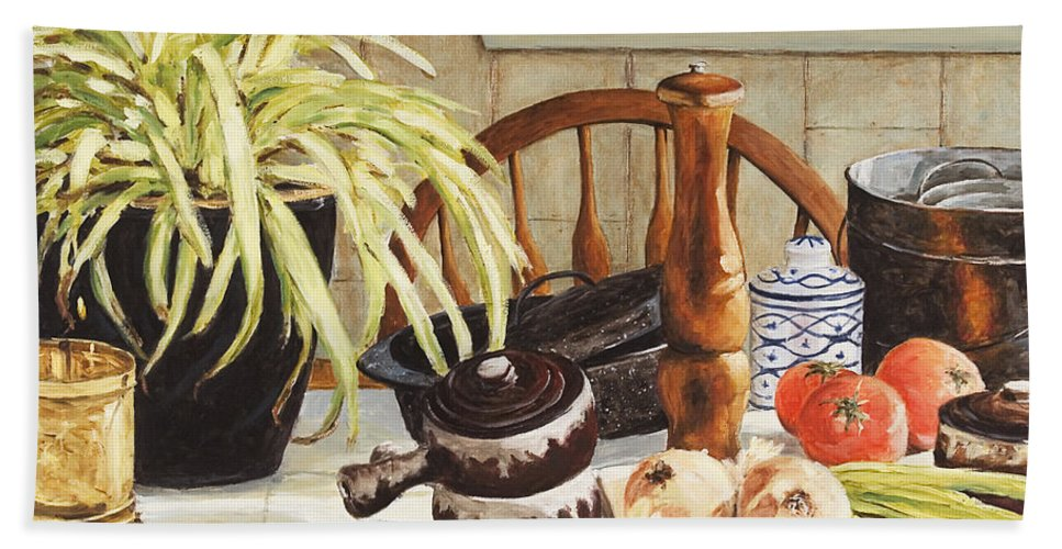 Onion Beach Sheet featuring the painting Onion Soup Tonight by Richard T Pranke