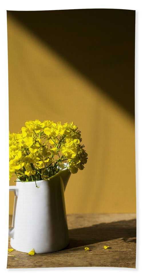 Rapeseed Beach Towel featuring the photograph Good Morning Sunshine- Rapeseed Flowers And White Mug  by Guna Andersone