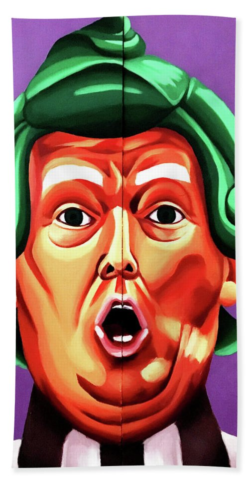 Trump Beach Towel featuring the painting Oompa Loompa Trump by Adam Campbell