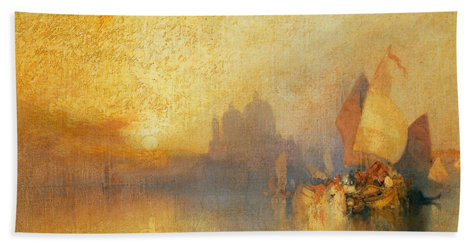 Thomas Moran Beach Towel featuring the painting Opalescent Venice by Thomas Moran