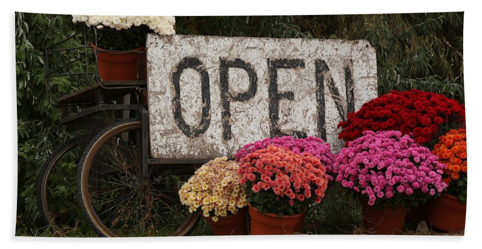 Mums Beach Towel featuring the photograph Open Sign With Flowers Fine Art Photo by James BO Insogna
