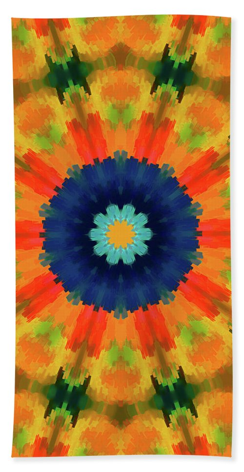 Mandala Art Beach Towel featuring the painting Openly by Jeelan Clark