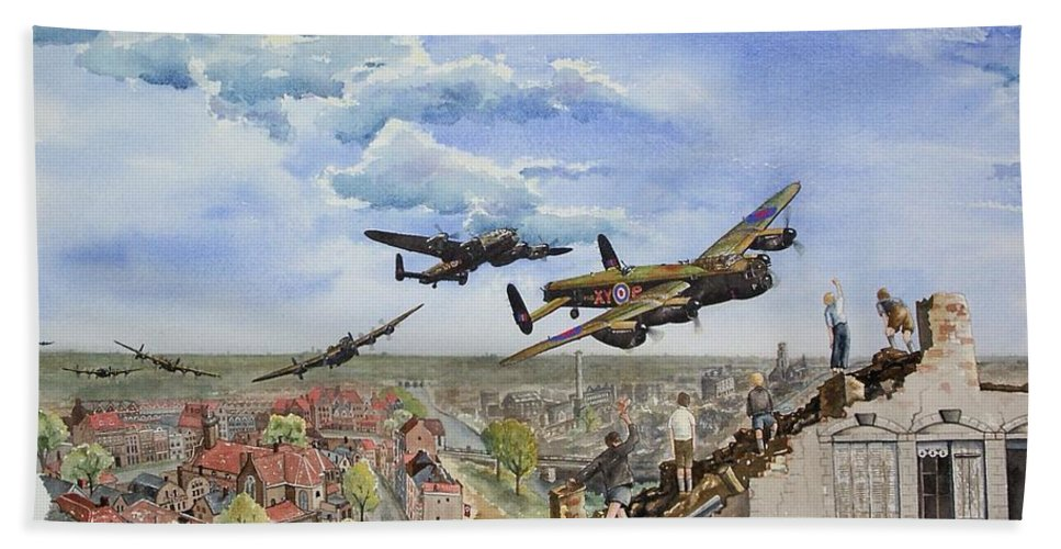 Lancaster Bomber Beach Sheet featuring the painting Operation Manna I by Gale Cochran-Smith