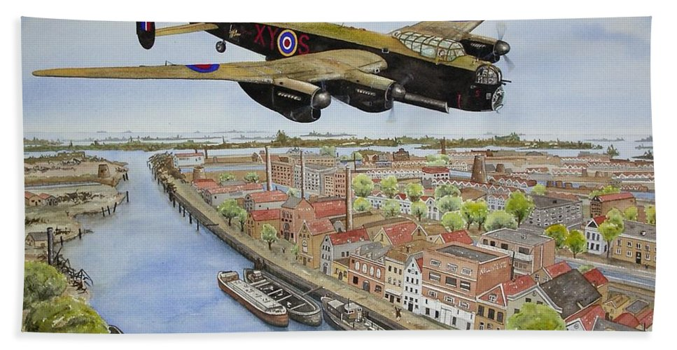 Lancaster Bomber Beach Towel featuring the painting Operation Manna II by Gale Cochran-Smith