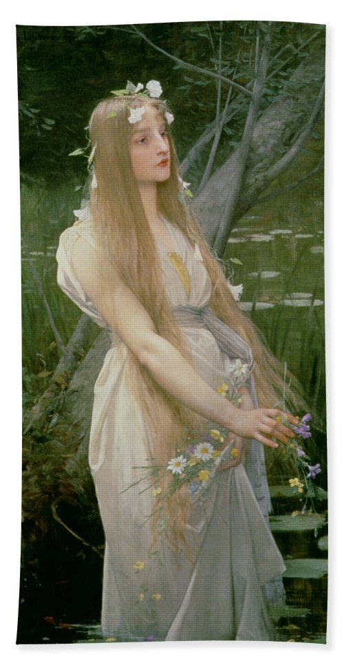 Female; Standing; Flowers; Gathering; Hair; Hamlet; Drowning; Suicide Beach Towel featuring the painting Ophelia by Jules Joseph Lefebvre