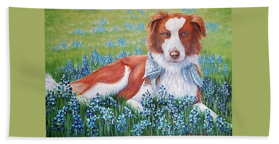 Fuqua Gallery-bev-artwork Beach Towel featuring the painting Opie by Beverly Fuqua