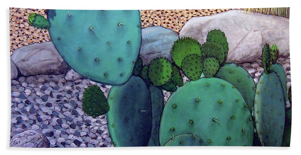Landscape Beach Sheet featuring the painting Opuntia by Snake Jagger