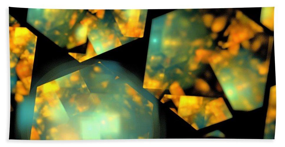Apophysis Beach Towel featuring the digital art Orange Aqua Honeycomb by Kim Sy Ok