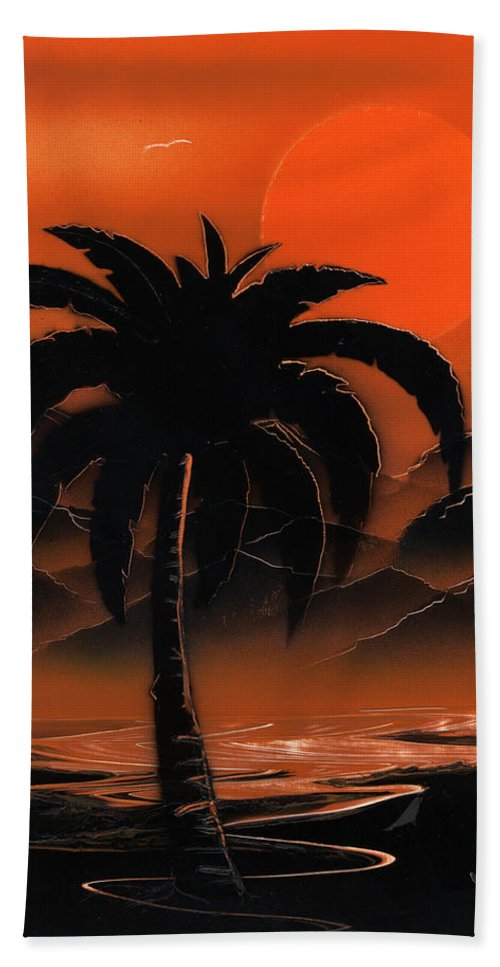 Oasis Beach Towel featuring the painting Orange Oasis by Jason Girard