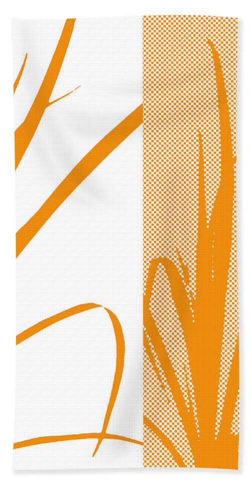 Abstract Beach Towel featuring the digital art Orange Palm by Ruth Palmer
