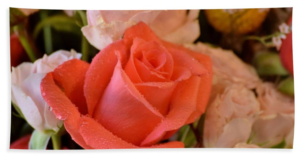 Roses Beach Towel featuring the photograph Orange Rose by Pam Meoli