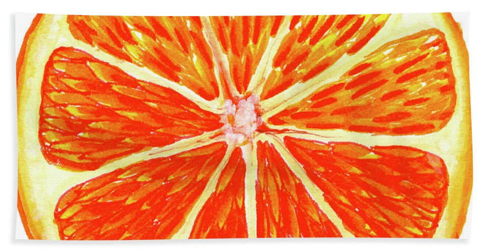Watercolor Painting Beach Towel featuring the painting Orange Slice by Erin Sparler