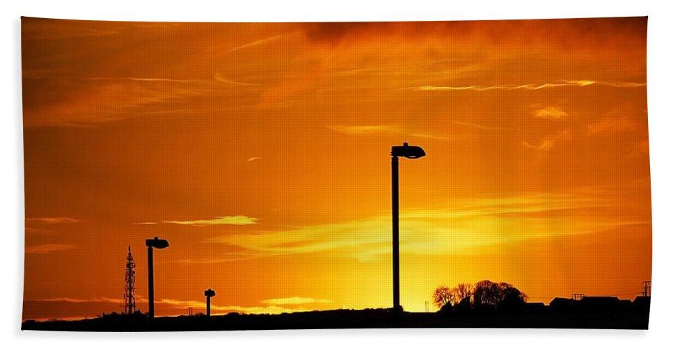 Dawn Beach Towel featuring the photograph Orange Sunset by Svetlana Sewell