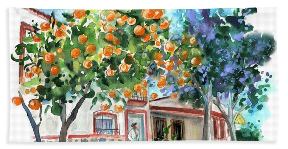 Orange Tree And Jacaranda In Turre In Andalucia Beach Sheet For