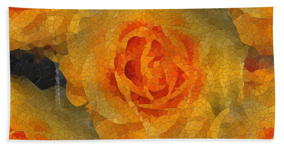 Flower Beach Towel featuring the digital art Orange You Lovely by Tim Allen