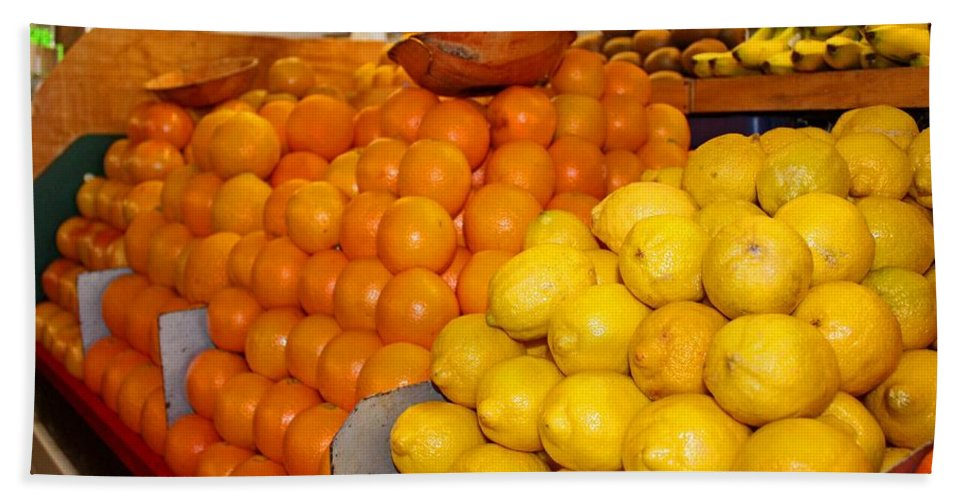 Oranges Beach Towel featuring the photograph Oranges And Lemons by Michiale Schneider