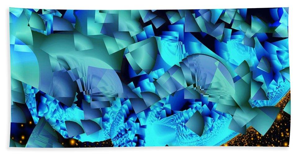 Fractal Art Beach Towel featuring the digital art Orbital Debris by Ron Bissett