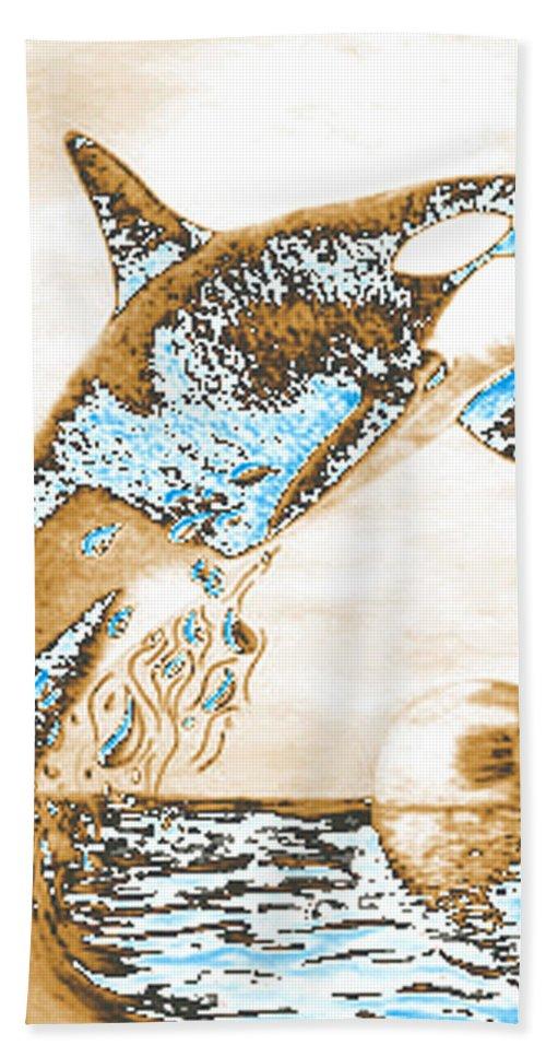 Whale Digital Art Beach Towel featuring the drawing Orca Ps by Mayhem Mediums