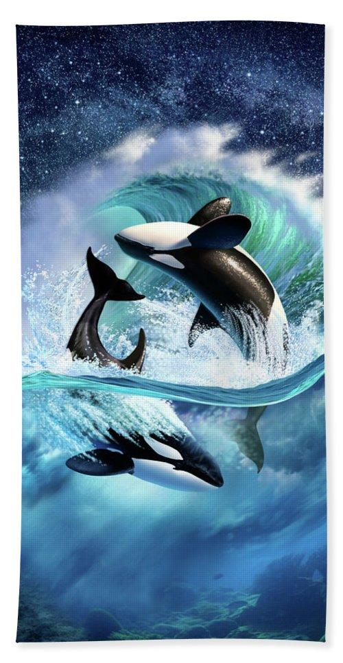 Orca Beach Towel featuring the digital art Orca Wave by Jerry LoFaro