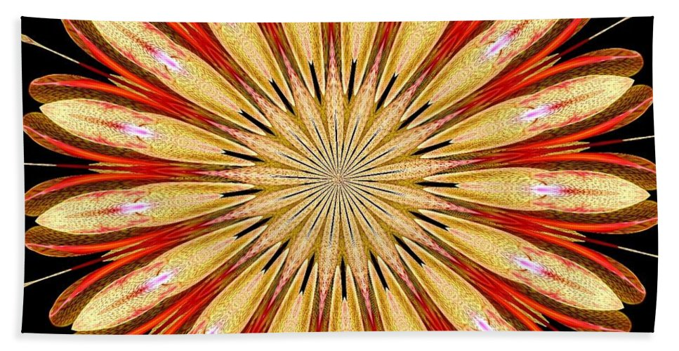 Orchid Kaleidoscope 5 Beach Towel featuring the mixed media Orchid Kaleidoscope 5 by Rose Santuci-Sofranko