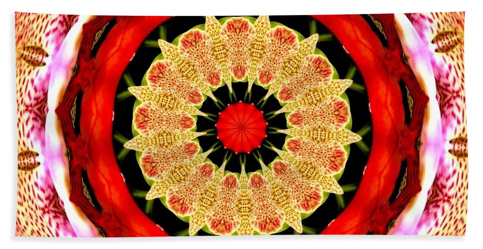 Orchid Kaleidoscope 6 Beach Towel featuring the mixed media Orchid Kaleidoscope 6 by Rose Santuci-Sofranko