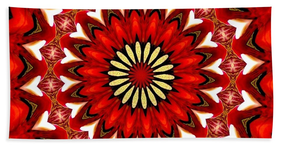 Orchid Kaleidoscope 9 Beach Towel featuring the mixed media Orchid Kaleidoscope 9 by Rose Santuci-Sofranko