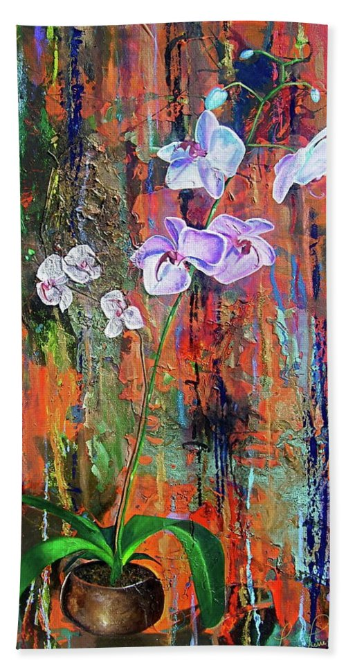 Orchid Art Beach Towel featuring the painting Orchid O by Laura Pierre-Louis