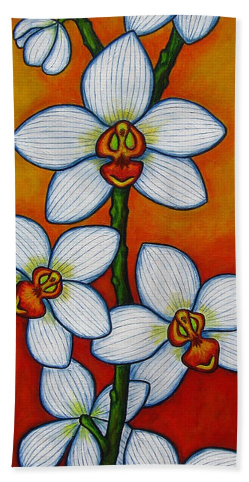 Orchids Beach Towel featuring the painting Orchid Oasis by Lisa Lorenz