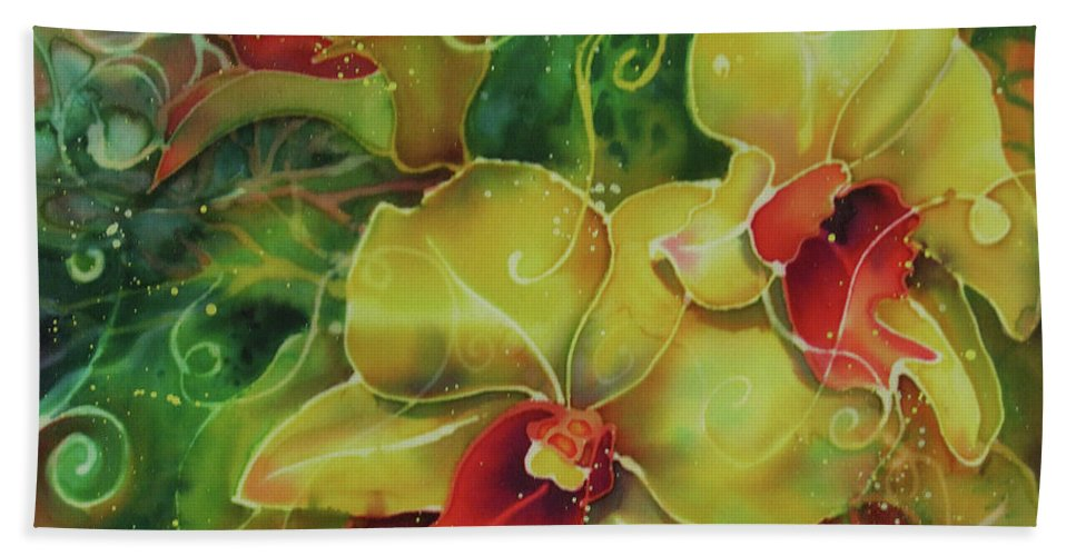 Orchid Beach Towel featuring the painting Orchid Series 11 by Deborah Younglao